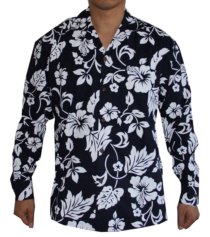 35ac8d8c Made in Hawaii! Men's Hibiscus Flower Classic Long Sleeve Hawaiian Shirt at  Amazon Men's Clothing store: