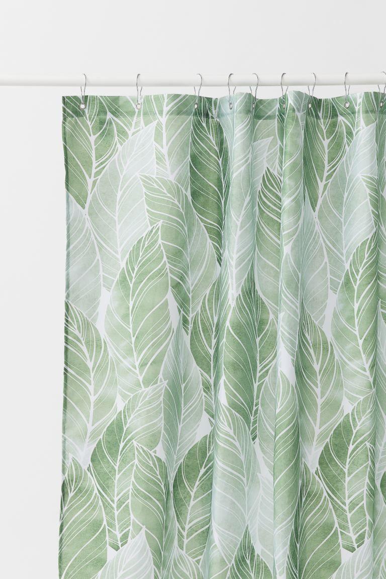 Patterned Shower Curtain Green Leaf Patterned Home All H M Us In 2020 Green Shower Curtains Patterned Shower Curtain Shower Curtain
