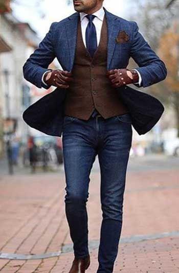 d836495d73d4a Pantolon Ceket Kombinleri: Kareli Lacivert Blazer - Jean Pantolon -  Kahverengi Yelek Ve Ayakkabı