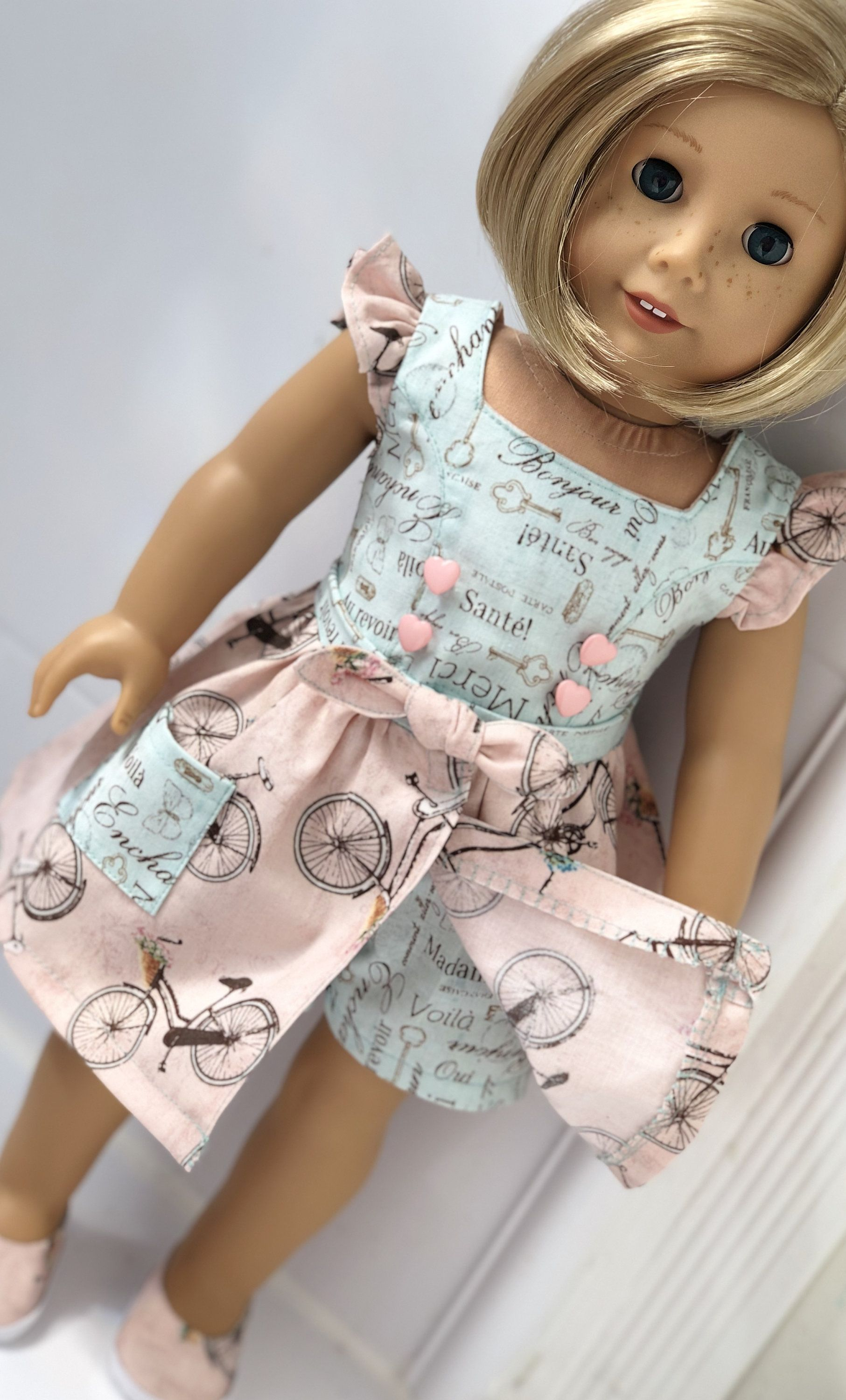 18 Girl Doll Clothes Blue French Phrase Playsuit with Pink Bicycle Over Skirt and Matching Shoes Made to fit Dolls like American Girl #girldollclothes