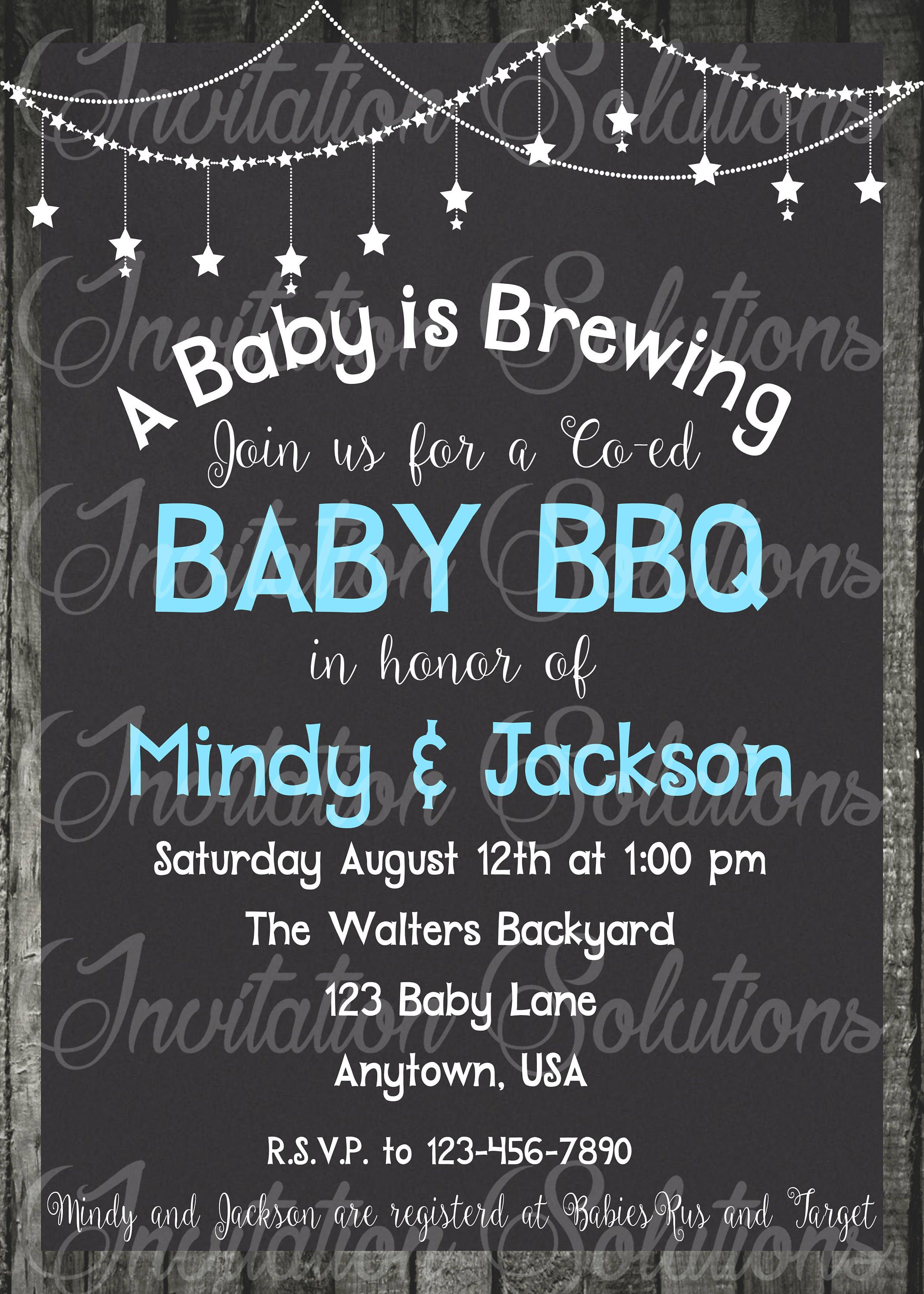 Baby Shower Bbq Themed Party Invitation