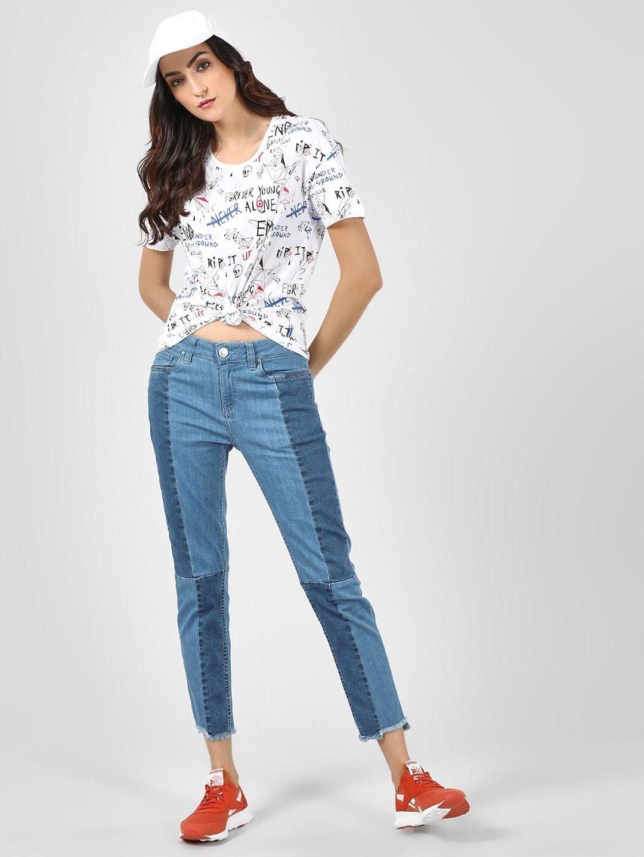 Blue saint blue contrast panel slim fit jeans for girls