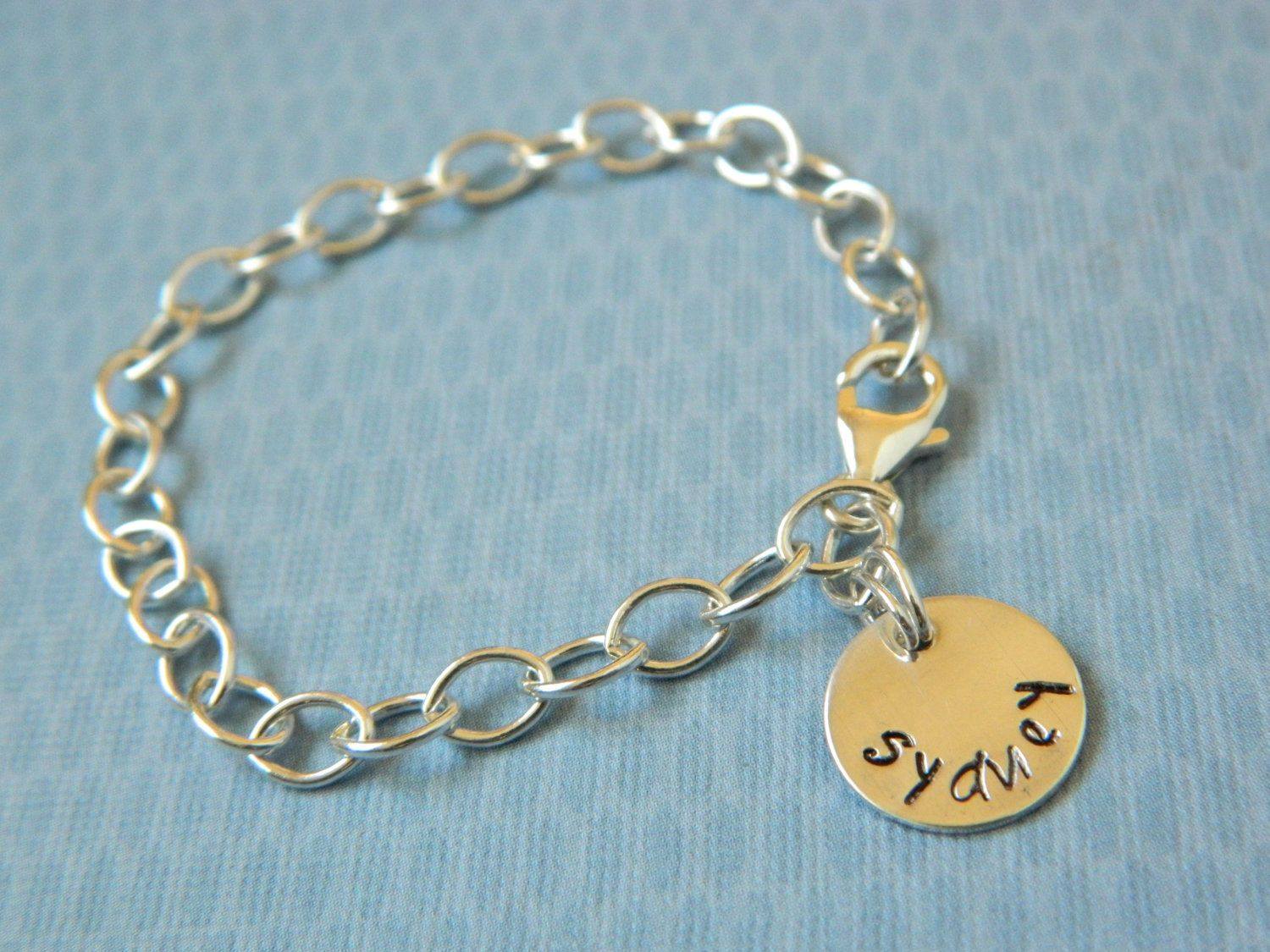 Girls Sterling Silver Charm Bracelet Hand Stamped by erinsmeltz
