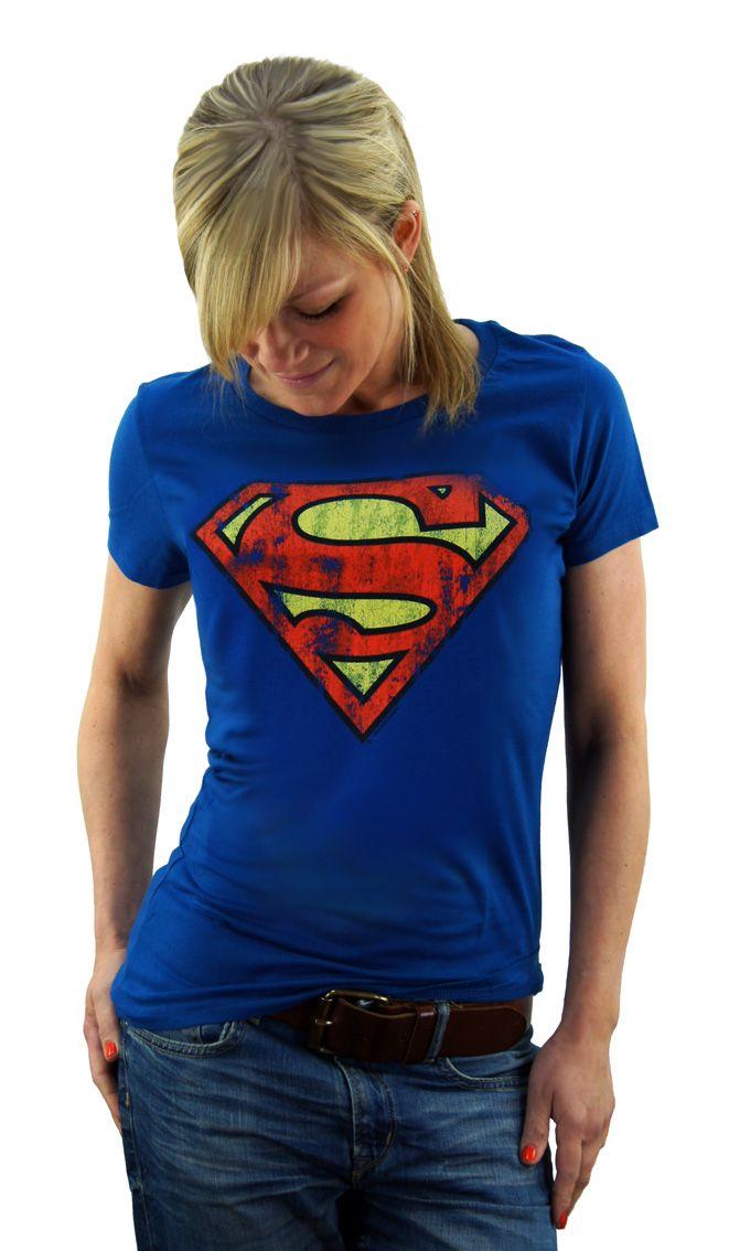 LOGOSHIRT Frauen Damen T-Shirt Superman Logo blau DC Comics Superhero