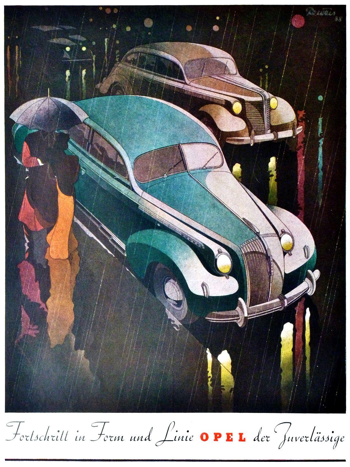 Opel (1938): Advertising Art by Bernd Reuters | Art deco ...