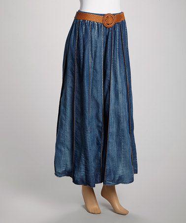 Another great find on #zulily! Blue Dark Wash Belted Denim Maxi Skirt - Women & Plus #zulilyfinds