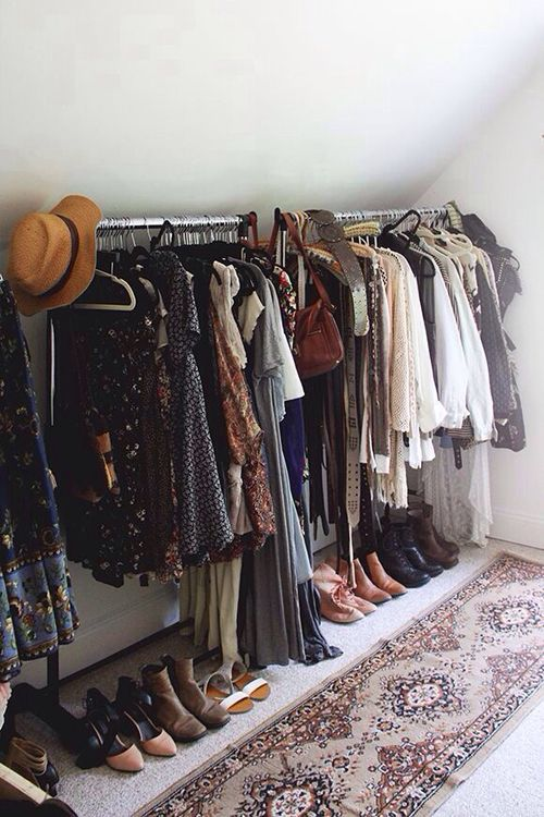 Use Rug To Section Off Clothes Rail And Shoes Organising No Closet