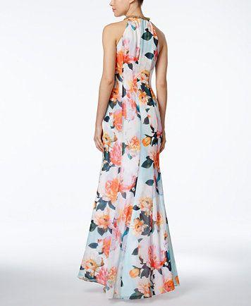 Calvin Klein Draped Floral-Print Halter Gown | macys.com