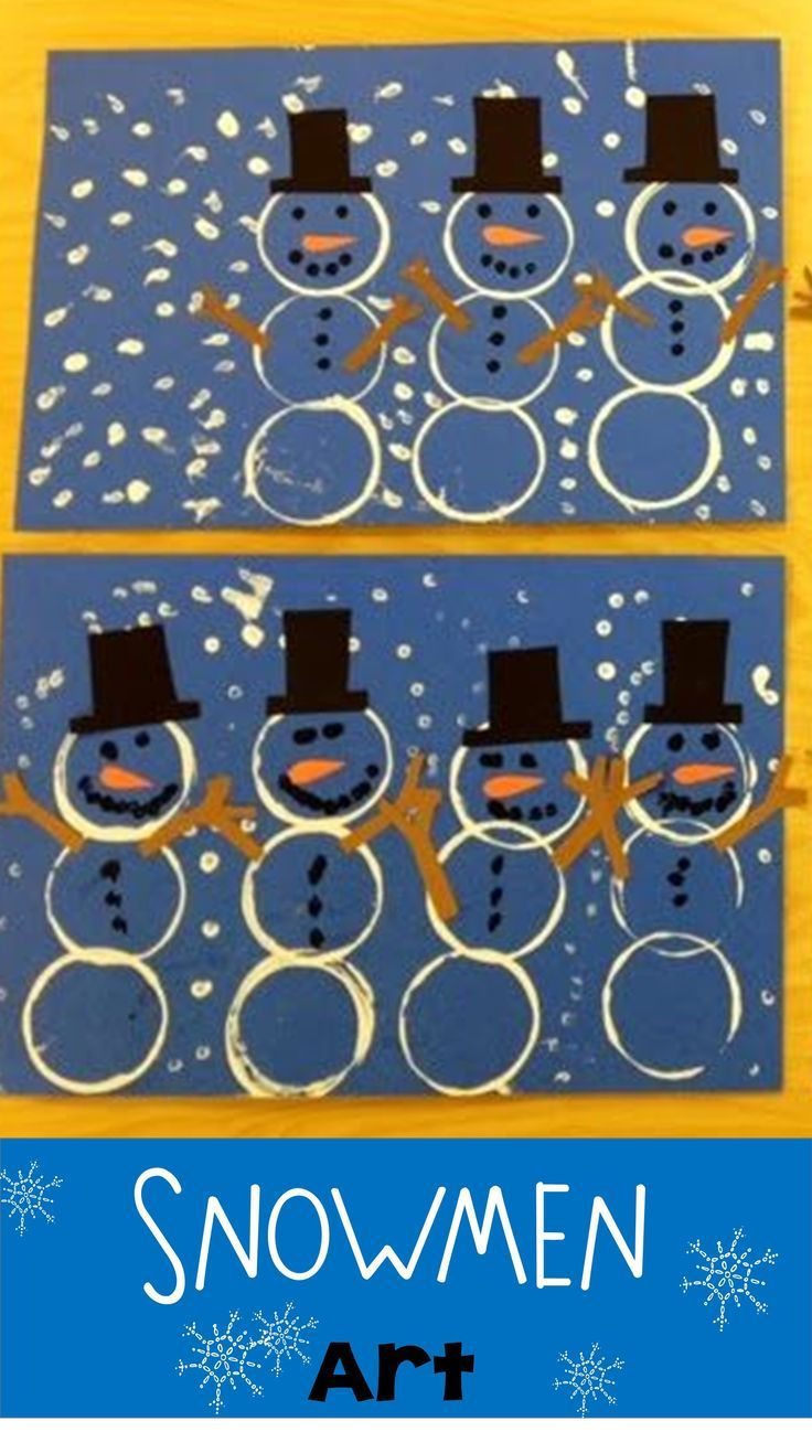 Kindergarten Snowmen: Use cups dipped in paint to stamp the snowmen