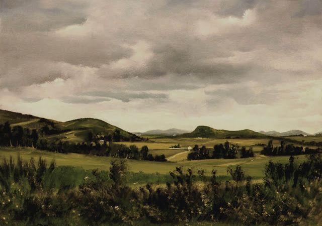 """Lalo Relinque: (2007) - """"Campos de Asturias"""" - Óleo.Papel - 35x50 cm"""