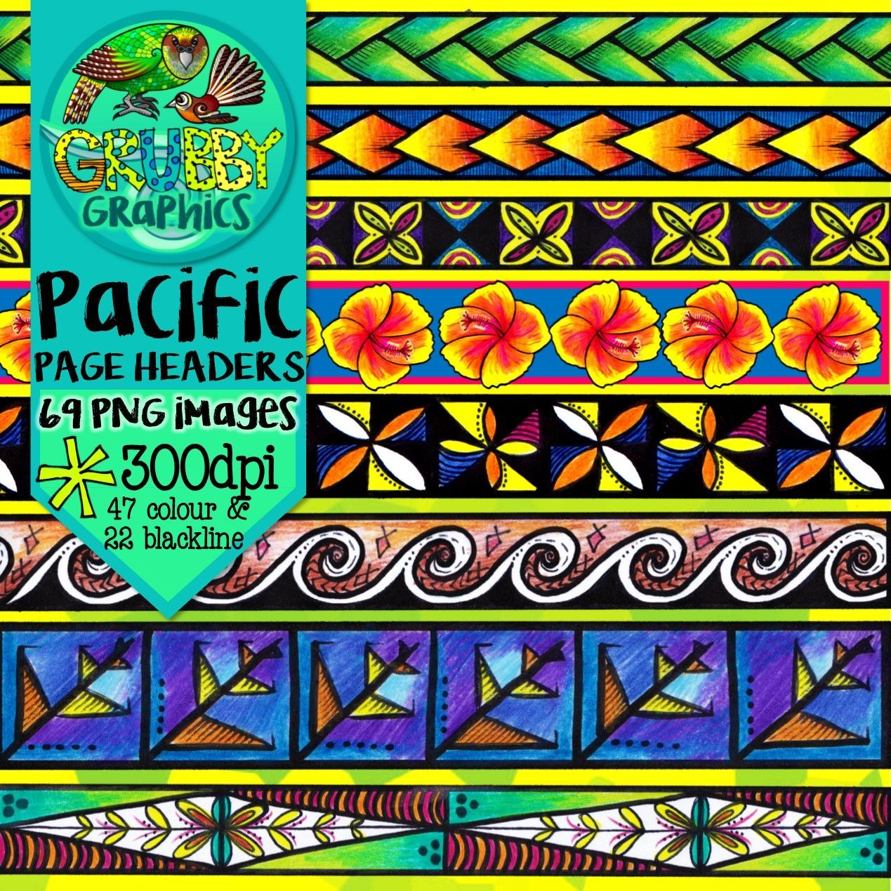 Pacific Island Themed Page Headers Footers Borders Beautiful