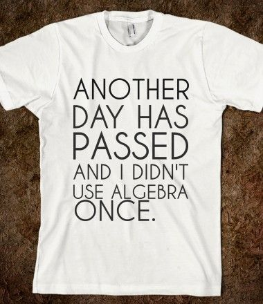 Another Day Has Passed And I Didn T Use Algebra Once Funny Tshirts Funny Quotes Funny