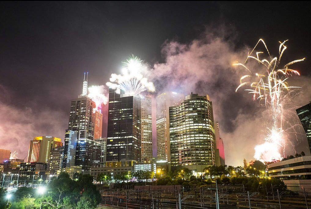 Fireworks along the Yarra. NYE 2014. Melbourne, New