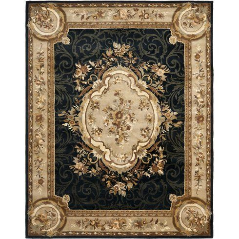 Astoria Grand Bedgood Oriental Hand Tufted Wool Black Beige Area Rug Area Rugs Wool Area Rugs Rugs