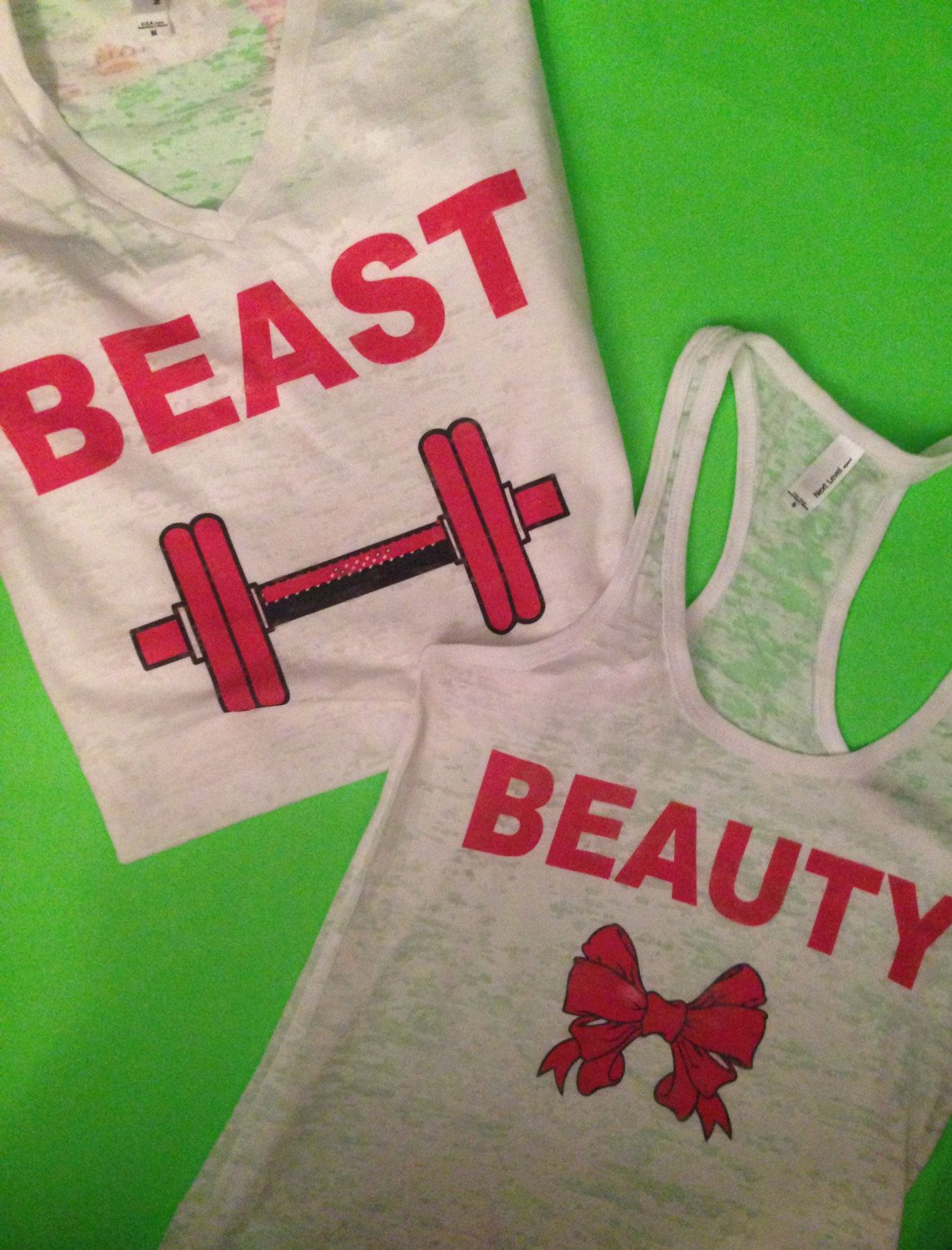 Beauty and Beast Workout Tank Tops. His and Her by MOZtrendFit, $45.95