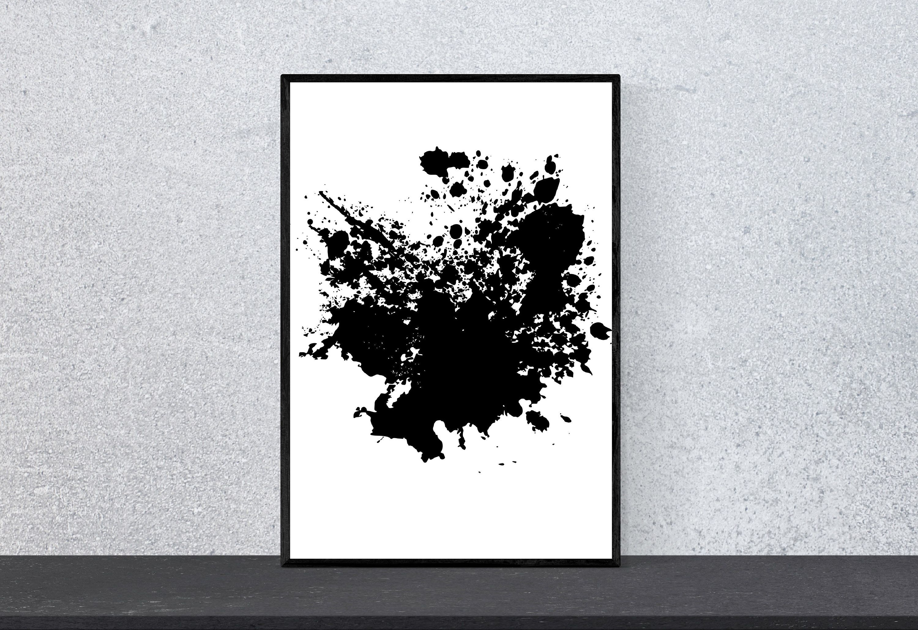 Ink blot print abstract print ink splash black painting best selling art