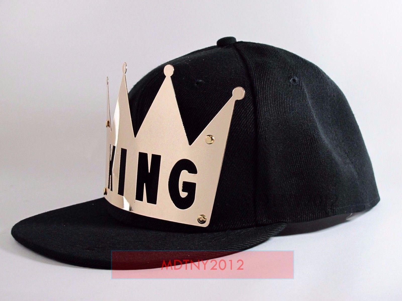 NEW Crown KING/&QUEEN Snapback Hats Baseball Caps adjustable Hip Hop Hats BLACK