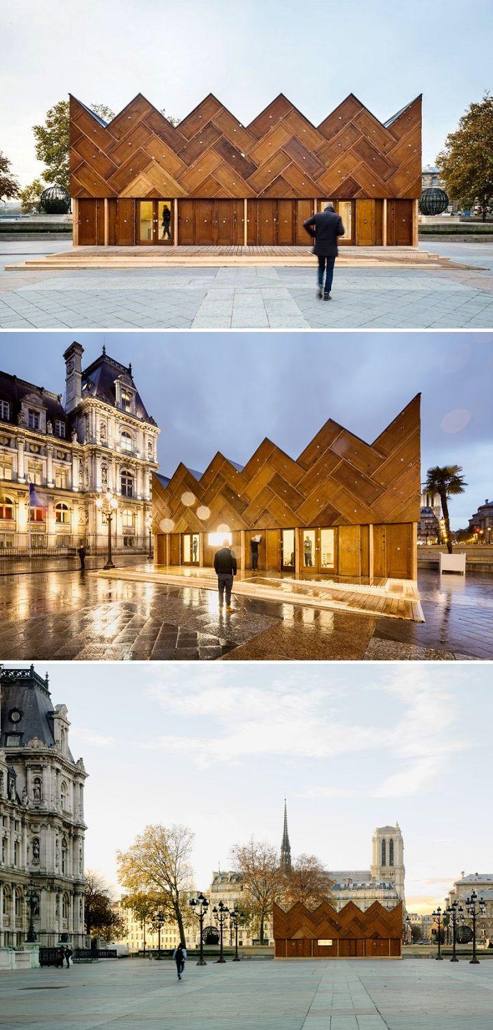 Photo of Parisisk paviljong Laget med 180 resirkulerte tredører