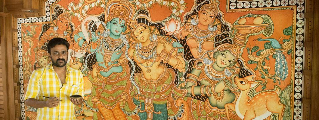 Mural paintings of kerala about the wonderful world of for Mural radha krishna