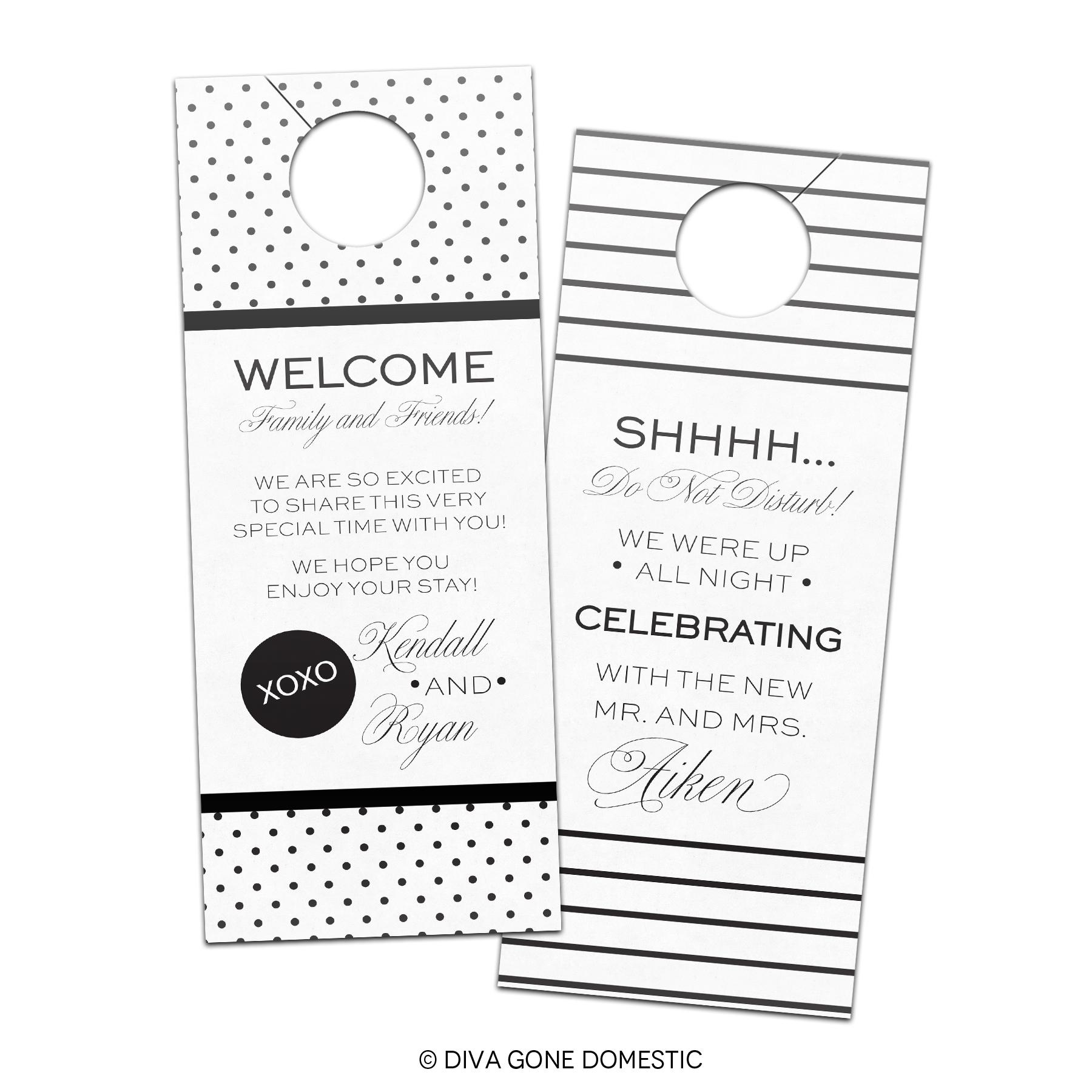 Hotel Wedding Guest Do Not Disturb Privacy Door Hanger Favors gift – Wedding Door Hanger Template