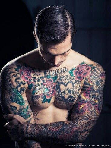 Tatto Men Flowers Colors Chest Tattoo Men Tattoos Beautiful Tattoos