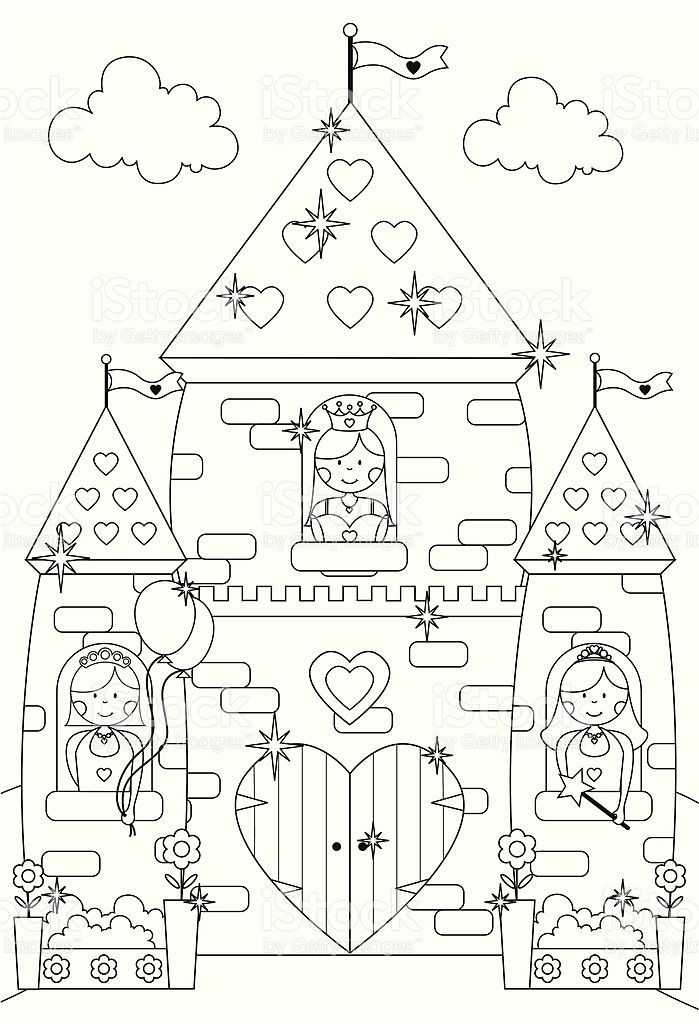 outline drawing of princesses at the windows of their