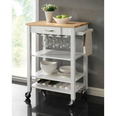 Coaster Butcher Block Kitchen Island, White Products in