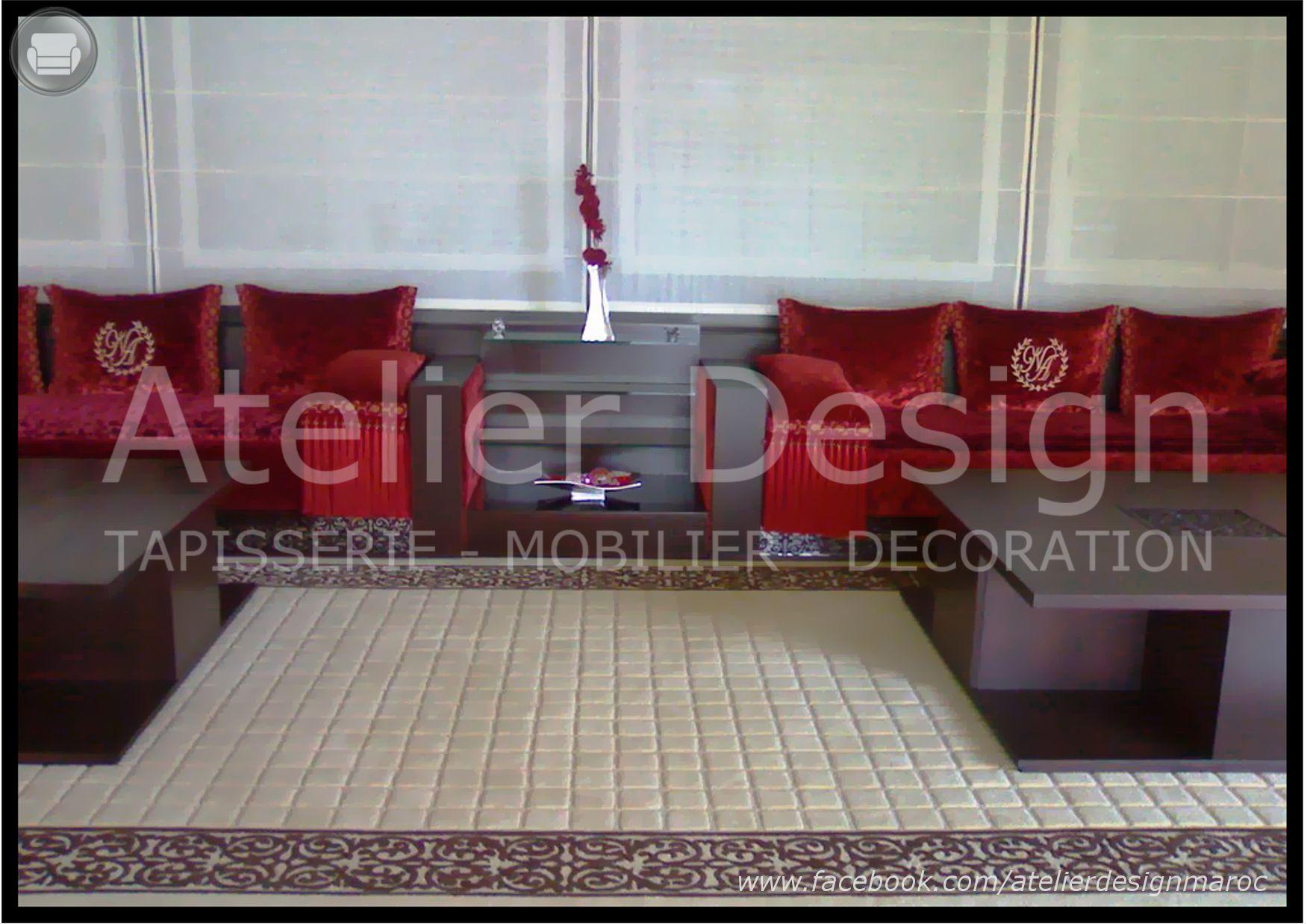 Salon marocain avec banquette à motif découpé au laser et ...