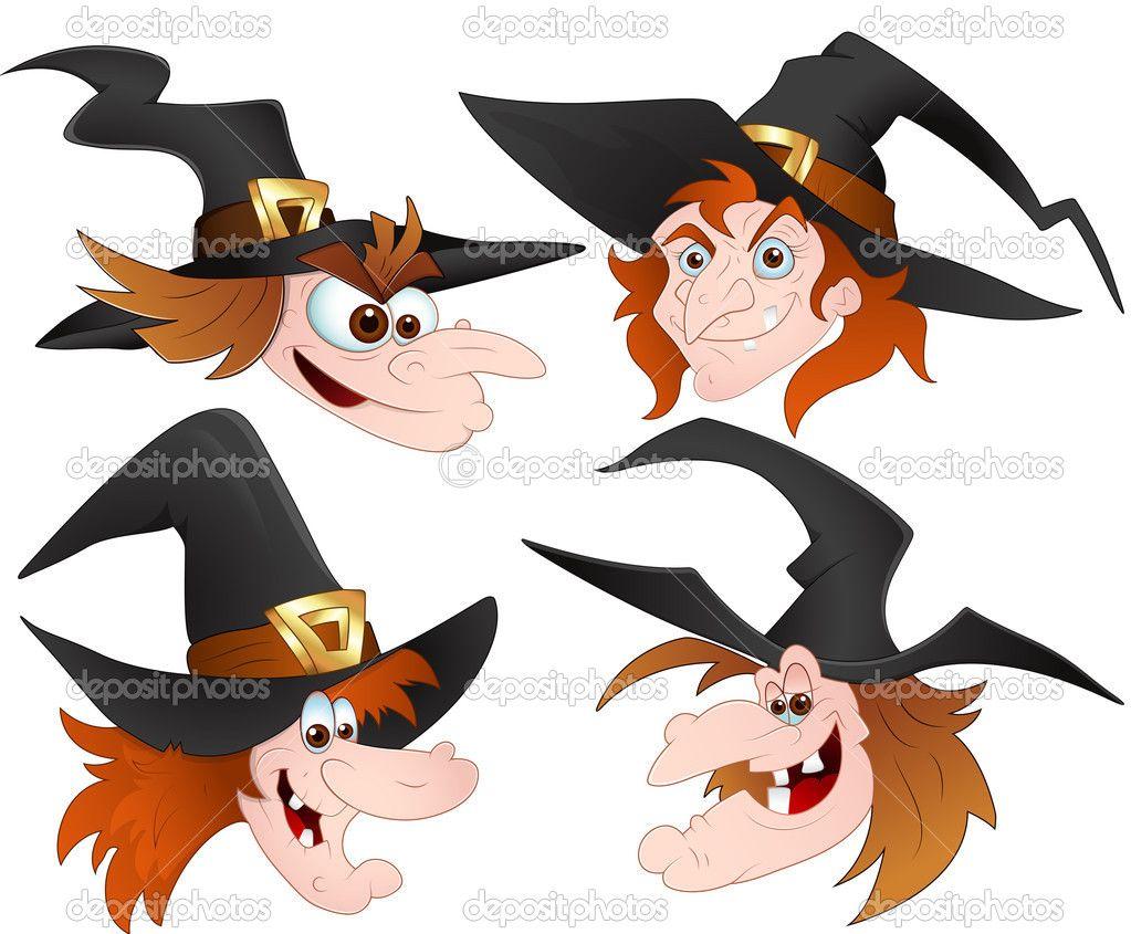 Bruja caras vectores de dibujos animados ilustraci n de - Caras de brujas ...
