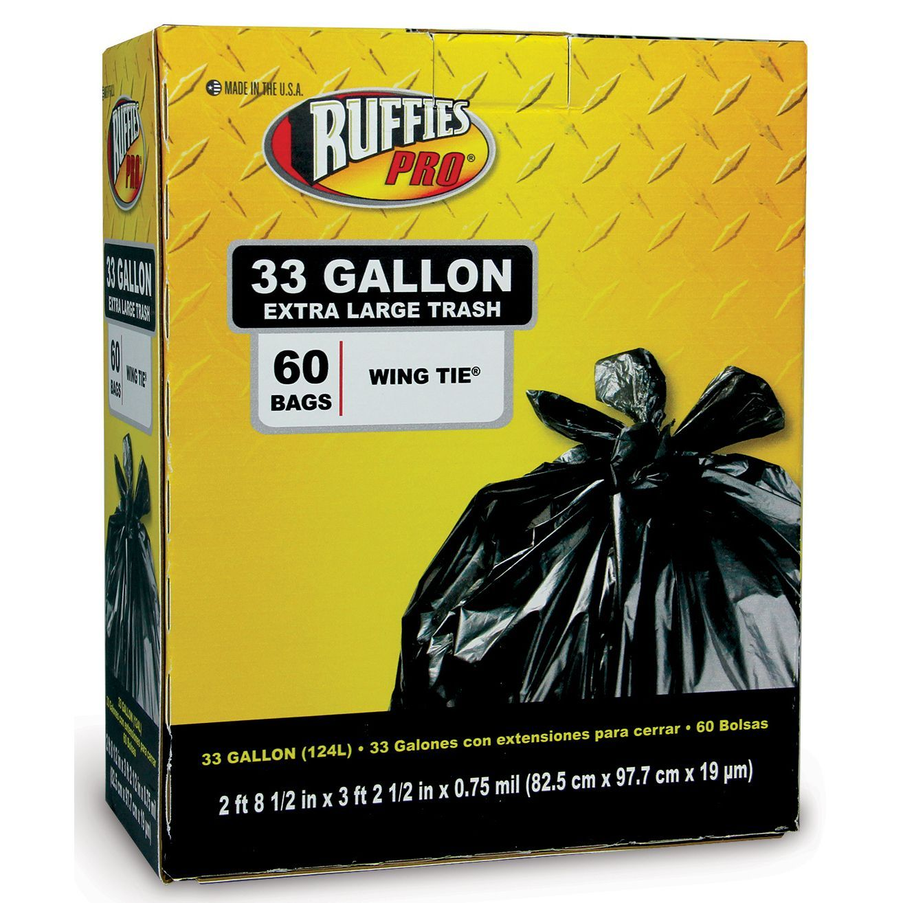 Ruffies Pro 1124904 33 Gallon Extra Trash Bags 60 Count