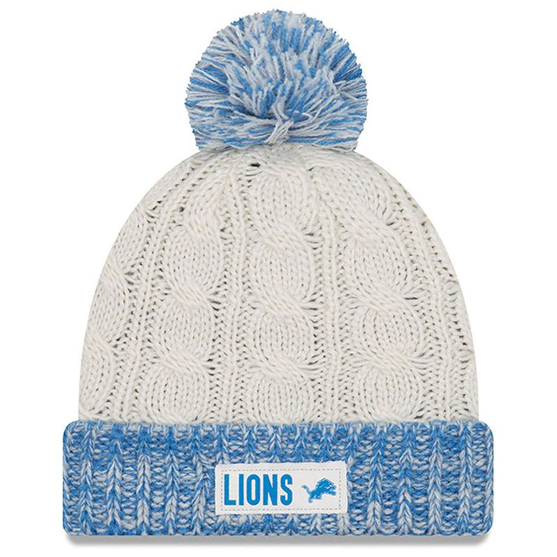 20efeb1d28cdc9 Detroit Lions New Era Women's Rugged Tag Cuffed Knit Hat with Pom - Cream