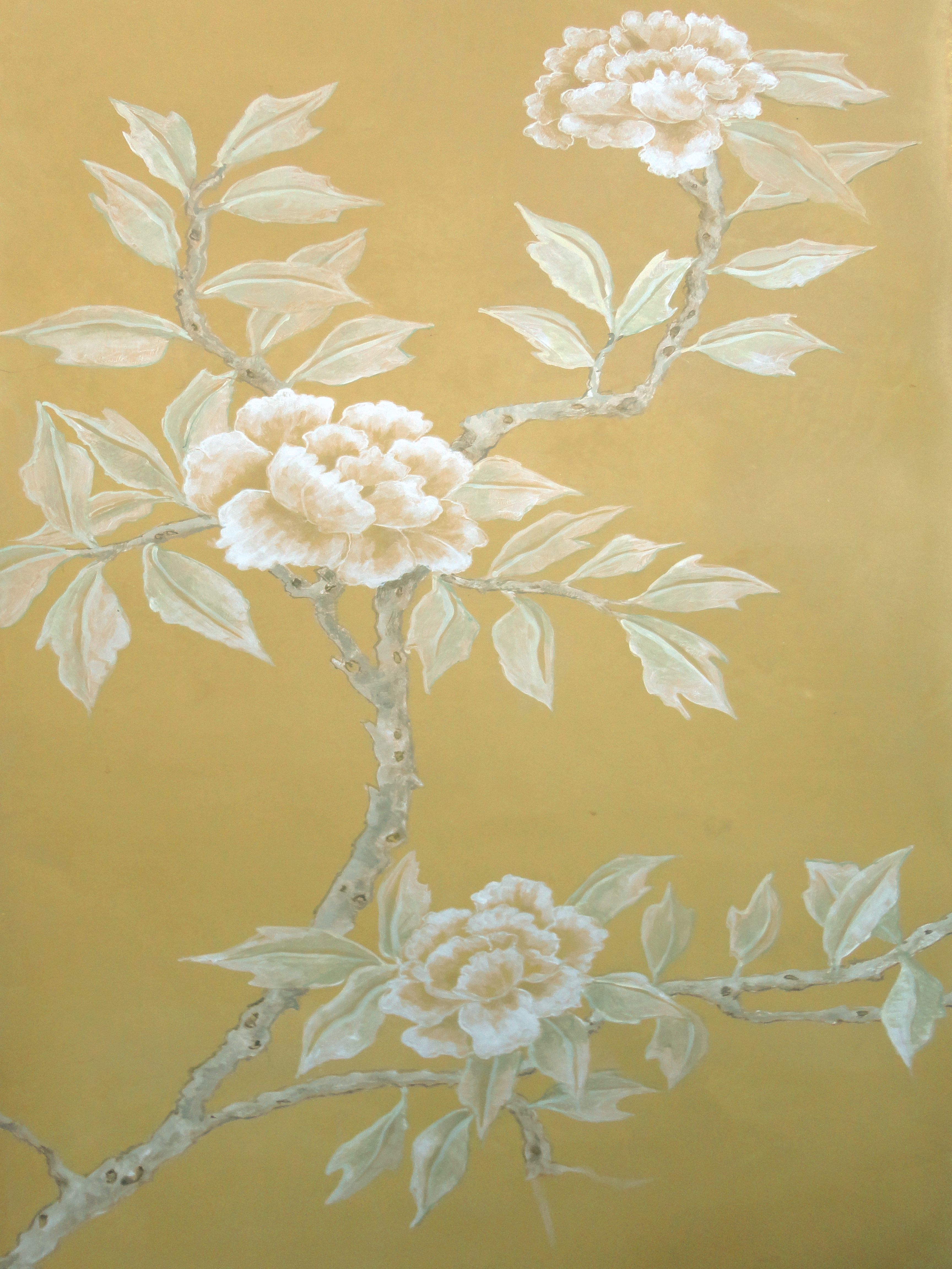Sample board of chinoiserie - secco painting on shikkui sora plaster ...