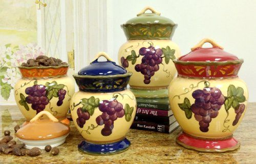 tuscany garden collection grapes hand painted 4pc canister set