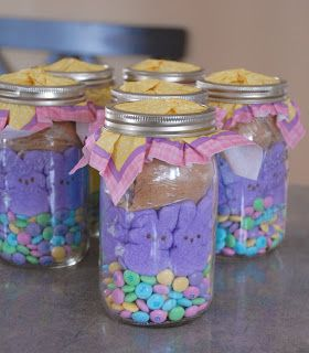 Easter bunny smores bar cookie in a jar easter pinterest easter bunny smores in a jar easter gift idea recipe gift giving instructions within link negle Choice Image