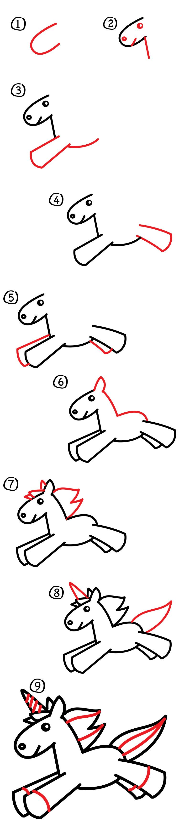 How to draw a unicorn for kids free printable unicorns for Learn drawing online step by step