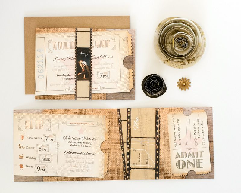 Super Unique Old Time Movie Themed Wedding Invitation Set With A