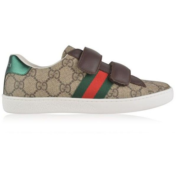 023b64912 Gucci Junior Girls Gg Supreme Trainers ($280) ❤ liked on Polyvore featuring  shoes, sneakers, beige ebony, low top, gucci sneakers, beige shoes, gucci  ...