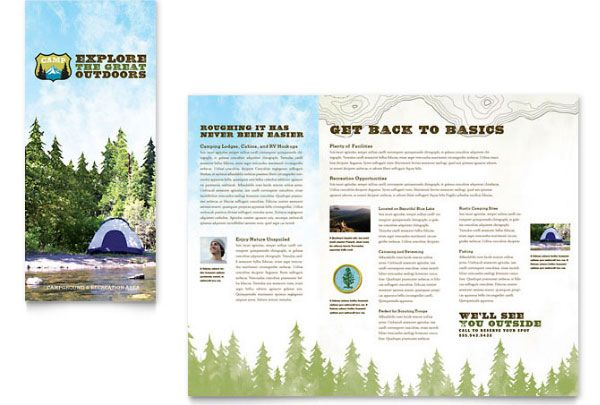 Campgrounds Parks  Recreation Brochure Template  Travel