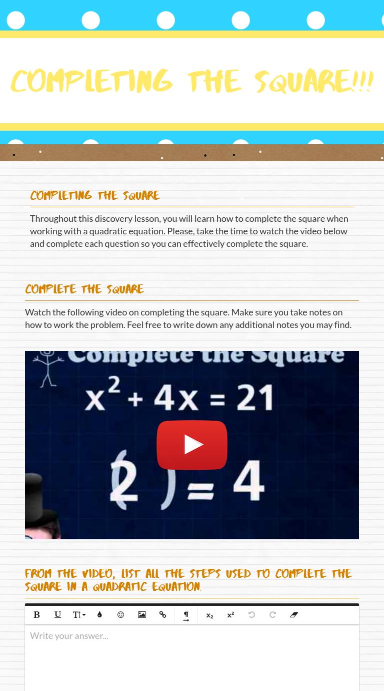 Wizer Me Blended Worksheet Completing The Square Completing The Square Blends Worksheets Interactive [ 1380 x 768 Pixel ]