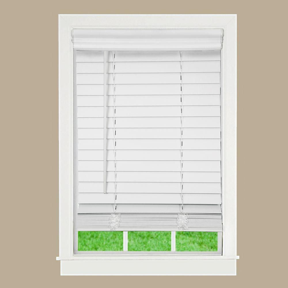 Perfect Lift Window Treatment White 2 in. Cordless Faux Wood Blind ...