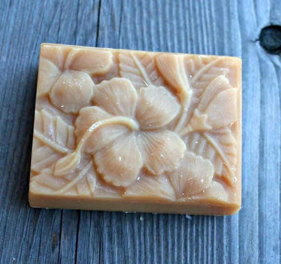 Hibiscus Goat's Milk Soap Scented Hibiscus Soap by HappyGoatSoap