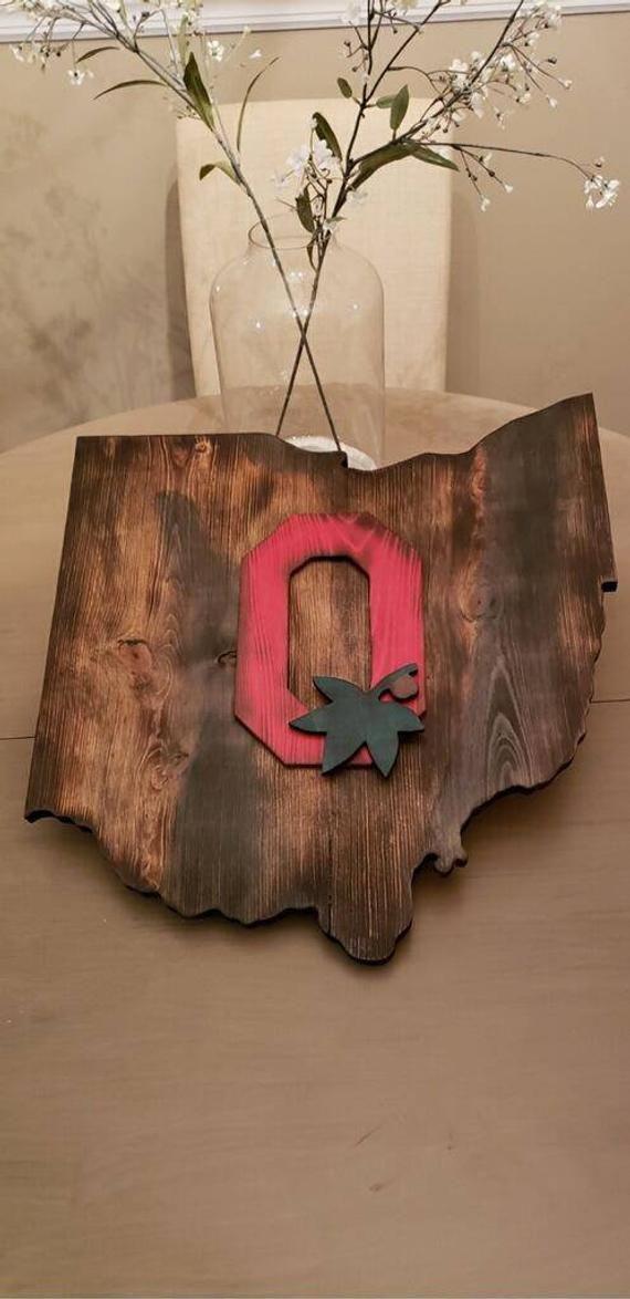 Rustic Ohio, Ohio State Rustic wall sign,Ohio state Buckeyes, Custom Ohio State, State of Ohio #ohiostatebuckeyes