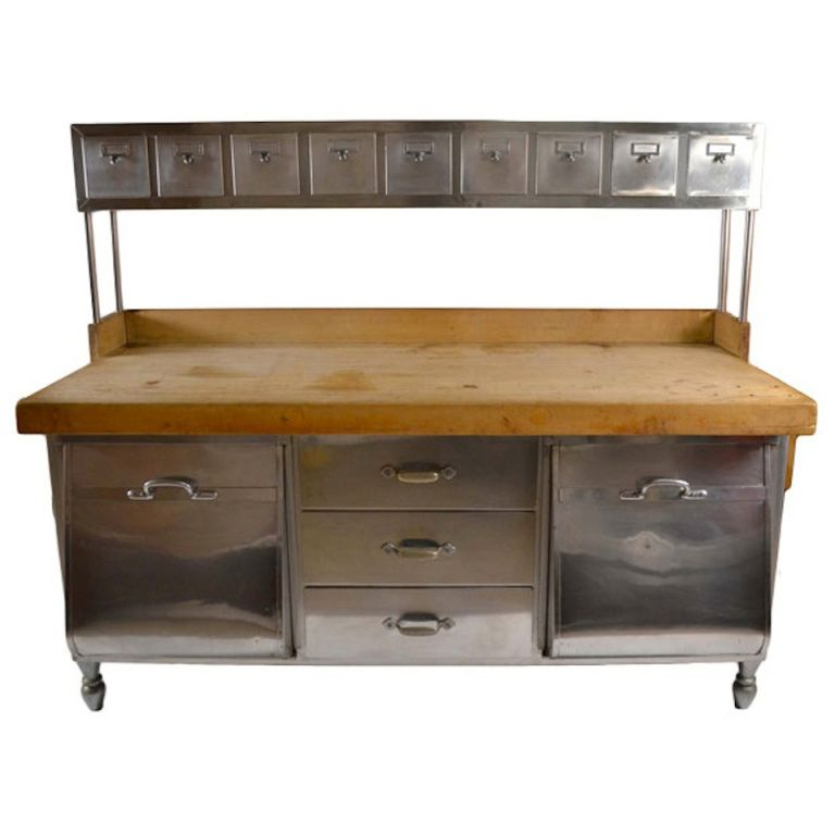 Industrial Stainless Steel And Wood Kitchen Work Station, Prep Table  1900 1920