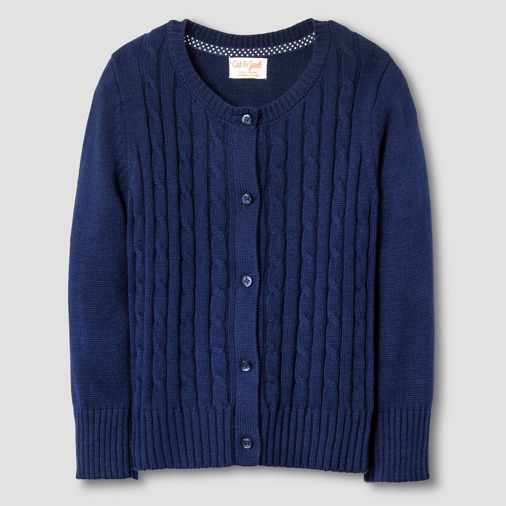 Toddler Girls' Cable Knit Cardigan Sweater Cat & Jack - Navy 2T ...