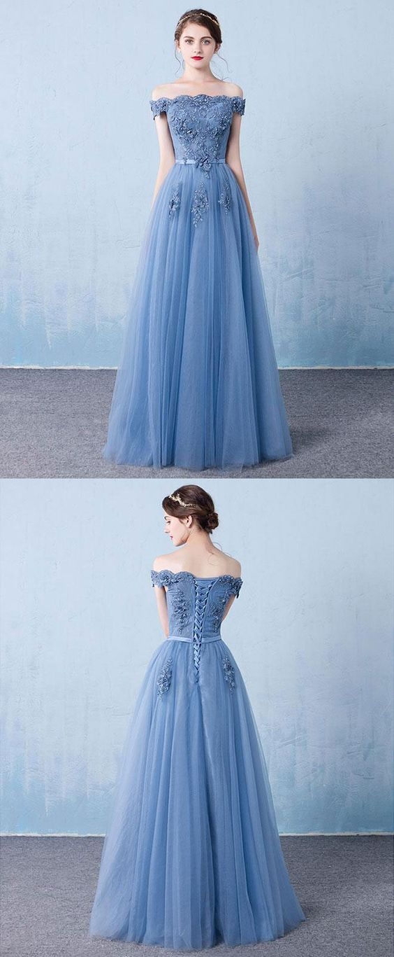 4f3a15f46d29 Blue Tulle Lace Off Shoulder Long Prom Dress