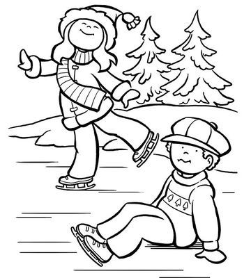 Printable Winter Coloring Pages Kid printables, Ice skaters and Winter - new snow coloring pages preschool