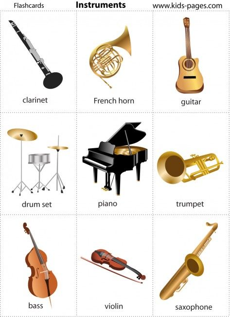 Kids Pages - FREE Printable Music Instruments Flash Cards | Music ...