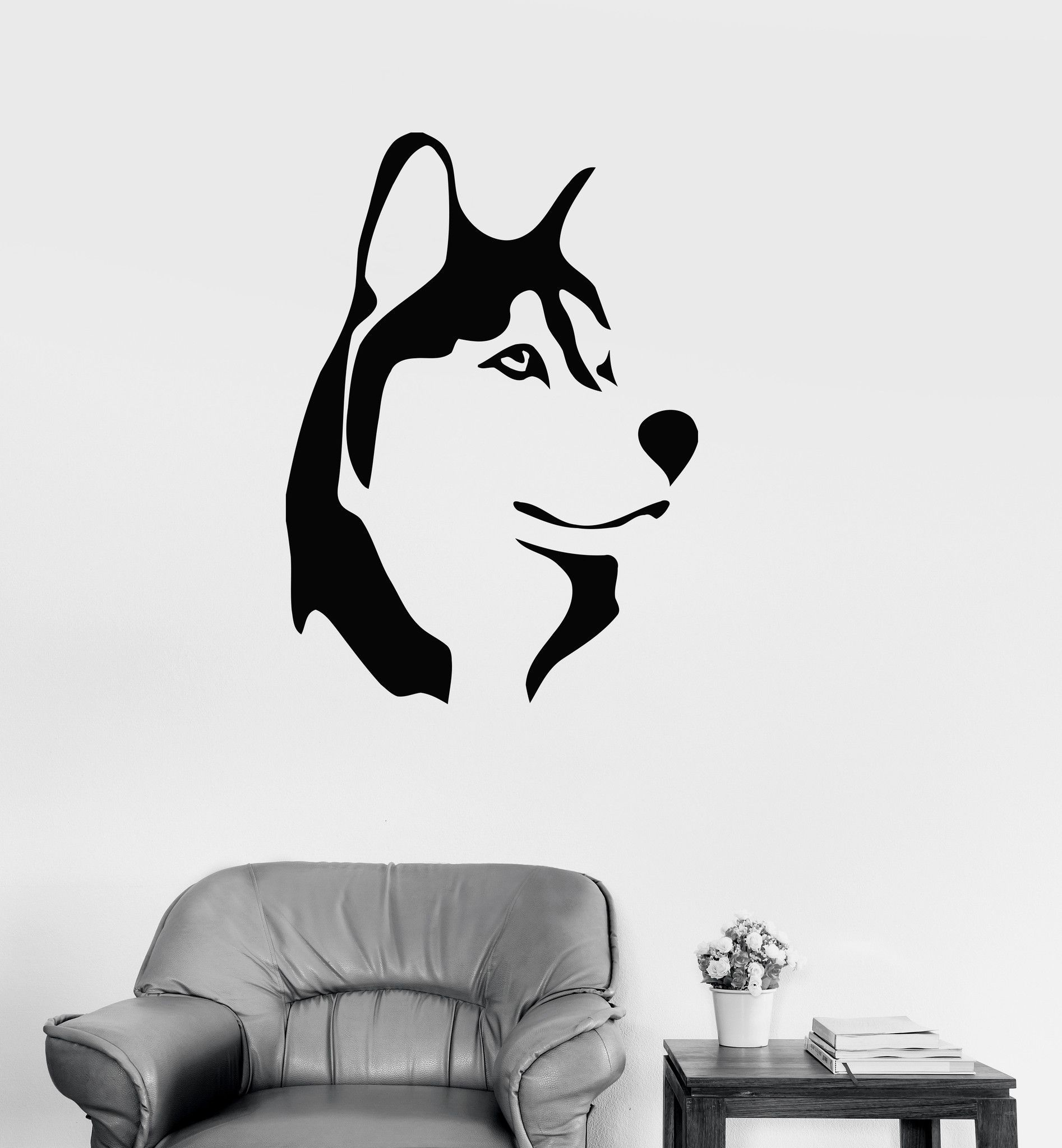 Vinyl Decal Husky Dog Animal Kids Room Man Cave Decor Wall Stickers ...