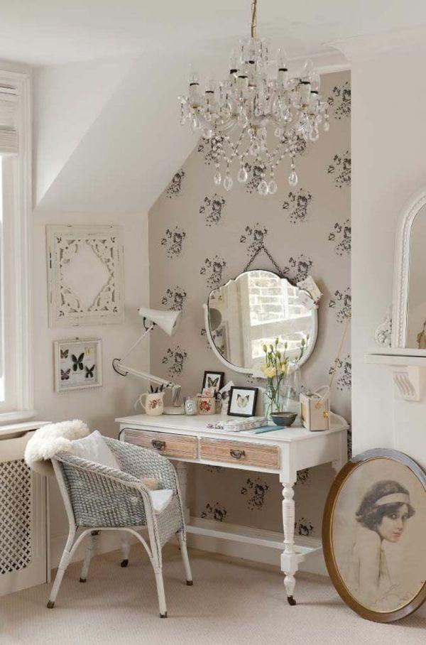 schminktisch design schubladen wandtapete kronleuchter decor - chambres a coucher conforama
