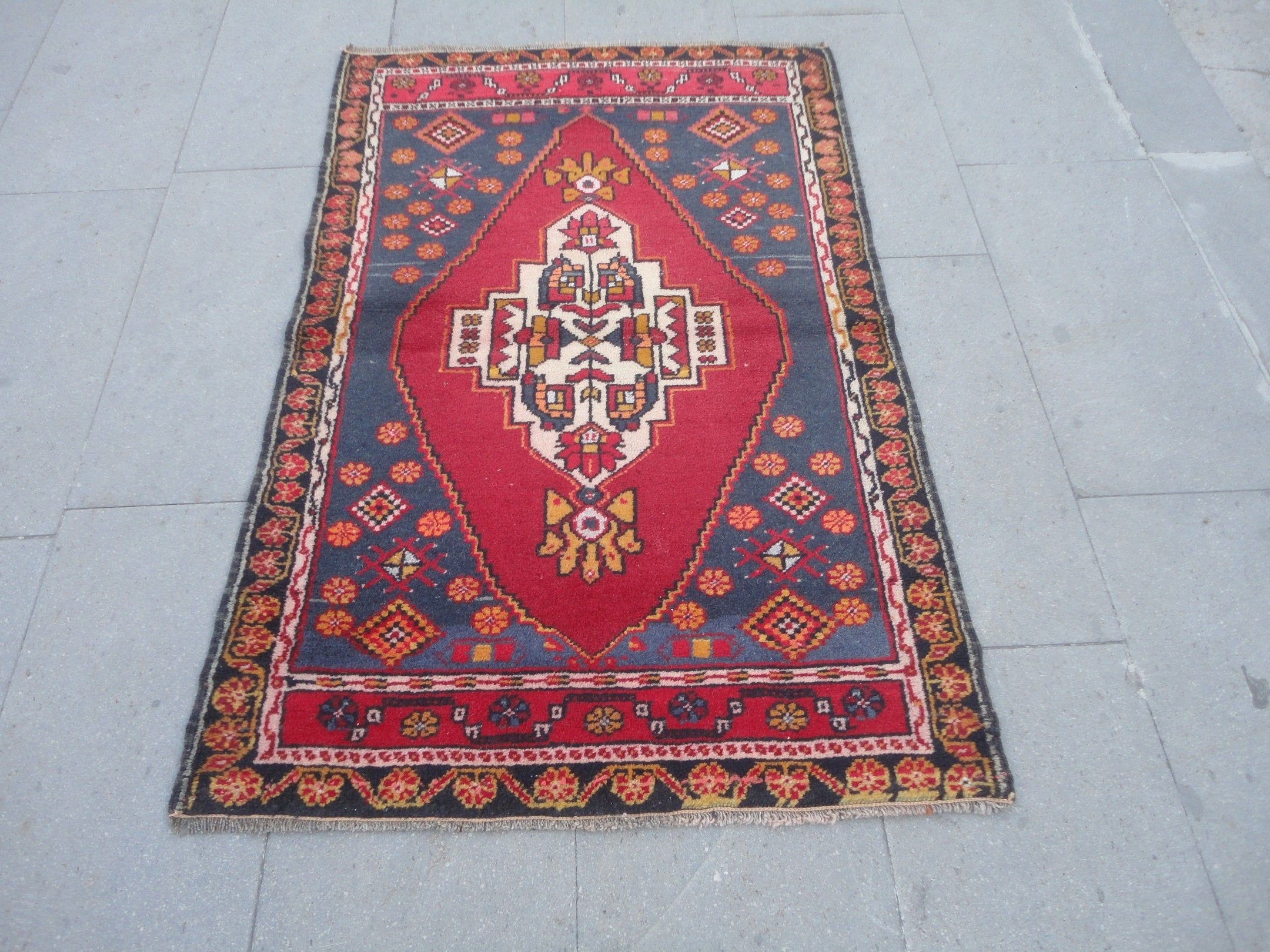 Turkish Blue Geometric Rug Hand Knotted Wool Floor Carpet High Pile Red Rug Small Size Home Office Boho Wool Rug 4 1 X 2 7 Feet Degil Halilar Hali Kilim